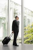 Businessman in formal wear holding luggage — Stock Photo