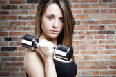 Portrait of Young fit woman lifting dumbbells — Stock Photo