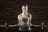 Sexy fit woman lifting dumbbells on brick background — Stockfoto