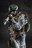 American Soldier with mask and rifle — Stock Photo