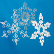 Hand made. Three paper Christmas snowflakes — Stock Photo