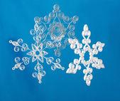 Hand made. Three paper Christmas snowflakes — Stock Photo