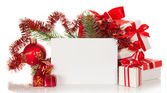 Set of the various gift boxes, a fir-tree and card isolated on white — Stock Photo