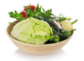 Cabbage, cucumbers, onions, greens, pepper, the tomatoes isolated on white — Stock Photo