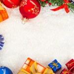 Christmas frame on snow — Stock Photo