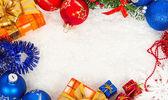 Vánoční rám na sněhu — Stock fotografie