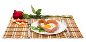 Festive a breakfast on Valentine's Day, sausage in the form of heart, red rose, notes with prediction isolated on white — Stock Photo