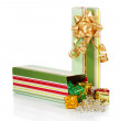Colorful gift box with christmas tinsel isolated on white — Stock Photo #32298655