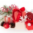Set of Christmas gifts and Christmas decorations, Christmas tinsel and empty card — Stock Photo #32290321