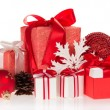Gift boxes, the Christmas toys, snowflakes and pine cones — Stock Photo