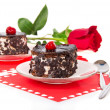 Chocolate cherry cakes and red rose in Valentine's day isolated on white — Stock Photo