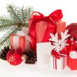 Gift boxes, toys, snowflakes, spruce twig,  pine cones and empty card — Stockfoto