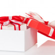 Gift with a bow in a white box and lid close isolated on white — Stock Photo
