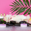 Howea leaf over a set for an aromatherapy, candles and a terry towel with a bow, on a damp pink background — Stock Photo