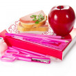 He book, stationery, sandwich with sausage, and the apple — Stok fotoğraf
