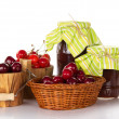 Sweet cherry in buckets, and jars of jam — Foto Stock