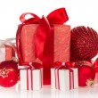 Stock Photo: Big and small gift boxes, Christmas toys isolated on white