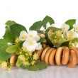 Bagels, the linden and jasmine flowers — Stock Photo
