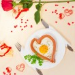 Festive a breakfast on Valentine's Day — Stock Photo