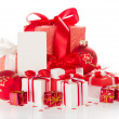Bright gift boxes, the New Year's balls and blank greeting card for Christmas — Stock Photo