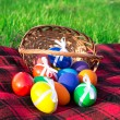 Plaid and the eggs which have dropped out of a basket, on a spring green grass — Stock Photo #32295887