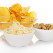 Bowls of snacks — Stock Photo