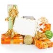 Christmas card with gift boxes, gold and green balls, snowflakes isolated on white — Stock Photo #32297133