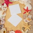 Frame from starfishes and cockleshells with two blank card on old paper — Stock Photo
