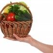 The female hand holds a basket with the vegetables, isolated on white — Stock Photo