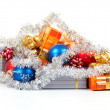 New Year's gifts, balls and christmas decoration isolated on white — Stock Photo