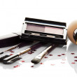 Basis for a make-up, mascara, eye shadow and a set of the brushes — Stock Photo