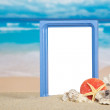 Frame, sea cockleshells and coral on the sandy coast — Stock Photo #32298721