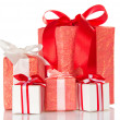 Set of gift boxes decorated with colorful ribbons and bows, isolated on white — Stock Photo