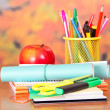 Exercise books, scissors, writing materials, and apple — Stockfoto