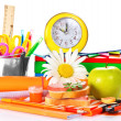 Big a set of school accessories, hours sandwich and the apple — Stock Photo