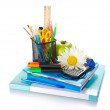 The books, notepad, stationery in stand, calculator, hourglass, apple and chamomile — Stock Photo