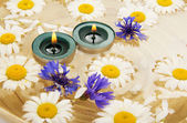 Petits cailloux, têtes de fleurs et de bougies brûlants dans un plat avec de l'eau — Photo