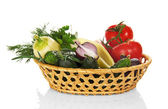 Fresh vegetables in the wicker basket — Stock Photo