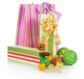 Gift box, package, green balls and christmas decoration isolated on white — Fotografia Stock