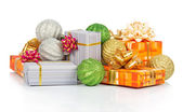 Christmas gifts, balls isolated on white — Stock Photo