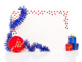 Happy New Year 2013 greeting card with blue tinsel and red ball isolated on white — Fotografia Stock