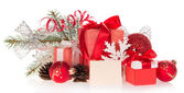 Set of Christmas gifts and Christmas decorations, Christmas tinsel and empty card isolated on white — Stock Photo
