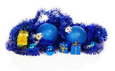 Blue christmas balls and blue, gold gift boxes, blue tinsel isolated on white — Stock Photo