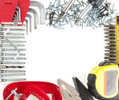 Beautifully put tool kit isolated on white — Stock Photo