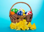 Basket with the eggs decorated with ribbons, flowers and a chocolate rabbit on a blue background — Stockfoto