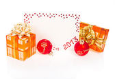 Red card on New Year 2013 with festive gift and red balls isolated on white — Stock Photo