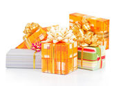 Christmas colorful gift boxes isolated on white — Stock Photo