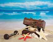 Ancient chest with sea cockleshells, hourglasses and a rope on sand — Stock Photo