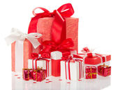 Set of various boxes for the Christmas gifts — Stock Photo