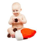 Positivitet barnet med kon och santa claus röd hatt isolerad på vit — Stockfoto
